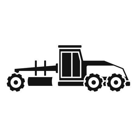 Grader machine vehicle icon, simple style