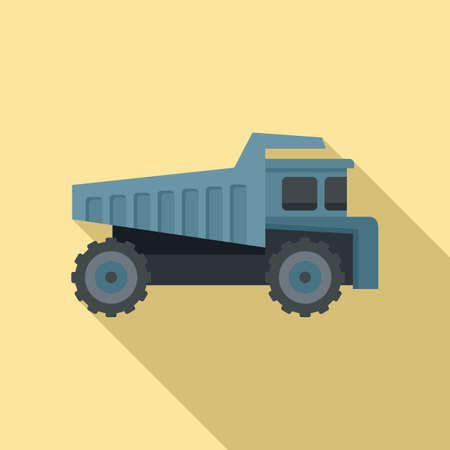 Tipper lorry icon, flat style