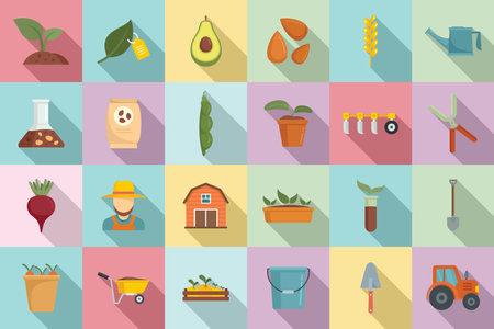 Agronomist icons set, flat style
