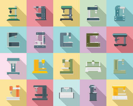 Milling machine icons set, flat style Ilustração