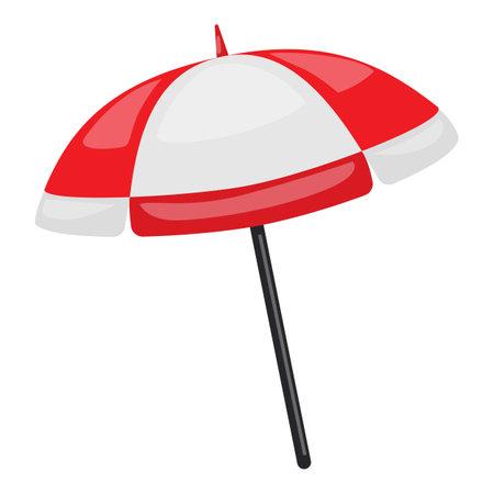 Beach umbrella icon, cartoon style