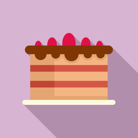 Protein cake icon, flat style 矢量图像