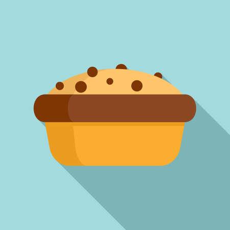 Apple cake icon, flat style