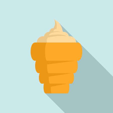 Ice cream cone icon, flat style 矢量图像