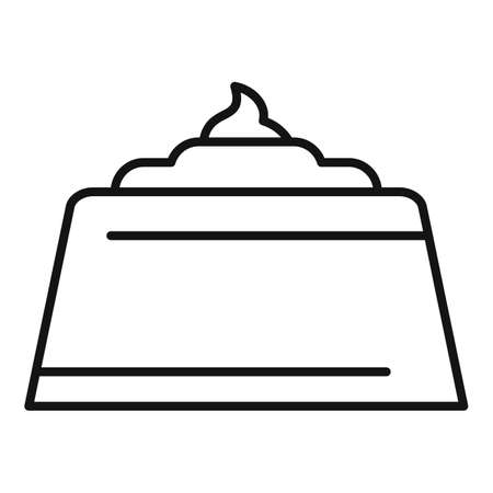 Chocolate cake icon, outline style 向量圖像