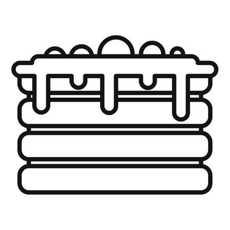 Cream sweet cake icon, outline style