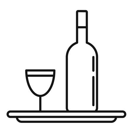Sommelier wine bottle tray icon, outline style
