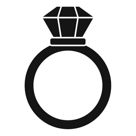 Notary gold ring icon, simple style