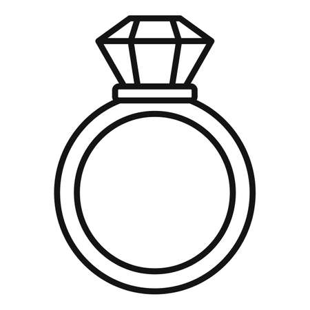 Notary gold ring icon, outline style