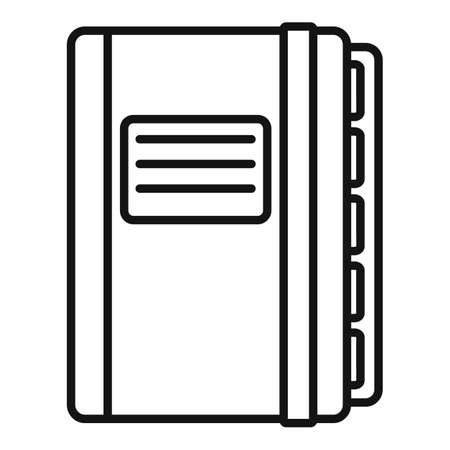 Office manager closed notebook icon, outline style 向量圖像