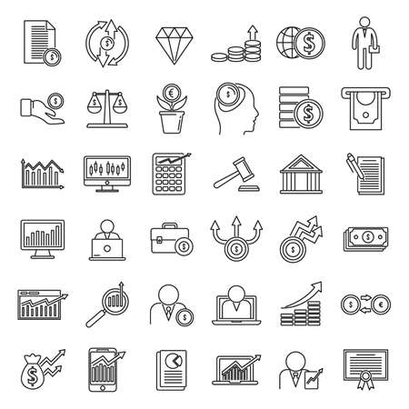 Broker auditor icons set, outline style