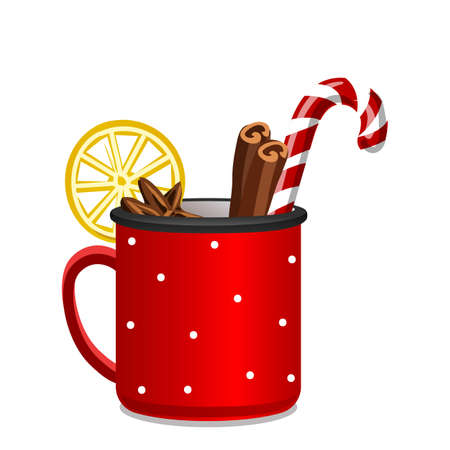 Christmas tea icon, cartoon style