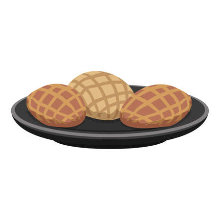 Plate of food icon, cartoon style