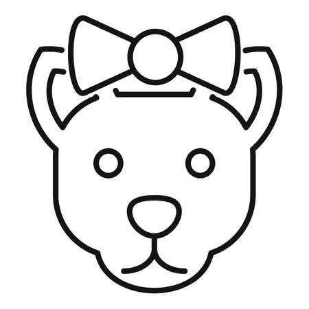 Cute cat with bow icon, outline style