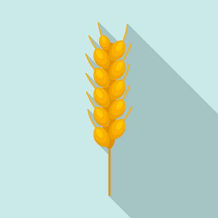 Wheat plant icon, flat style