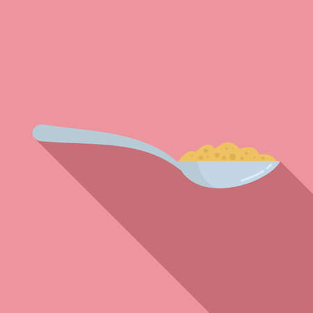 Cereal flakes spoon icon, flat style