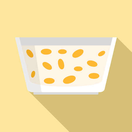 Morning food cereal flakes icon, flat style Иллюстрация
