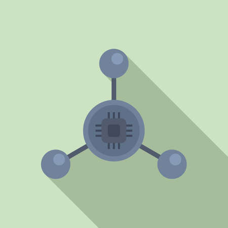 Nanotechnology molecule icon, flat style