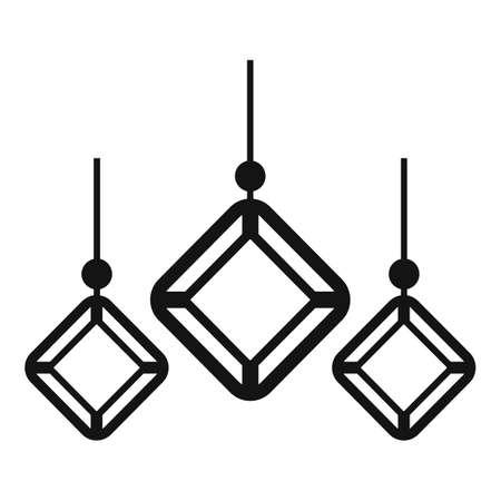 Gemstones earrings icon, simple style