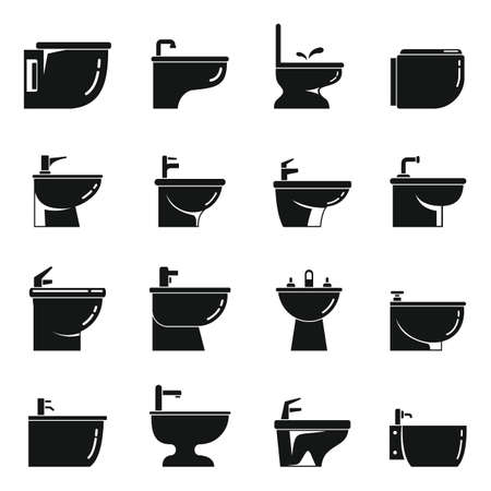 Ceramic bidet icons set, simple style Vecteurs