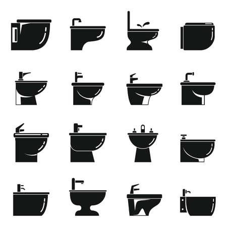 Ceramic bidet icons set, simple style Vetores