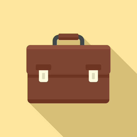 Tax inspector briefcase icon, flat style