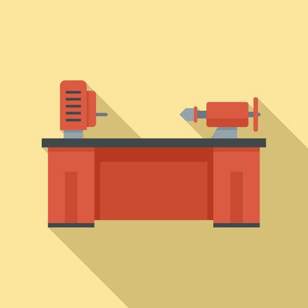 Lathe machine icon, flat style Ilustrace