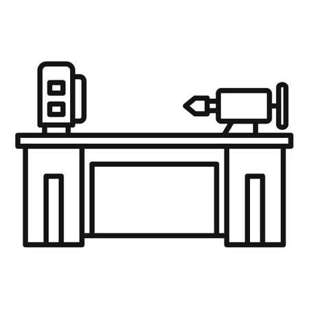Lathe machine icon, outline style Ilustrace