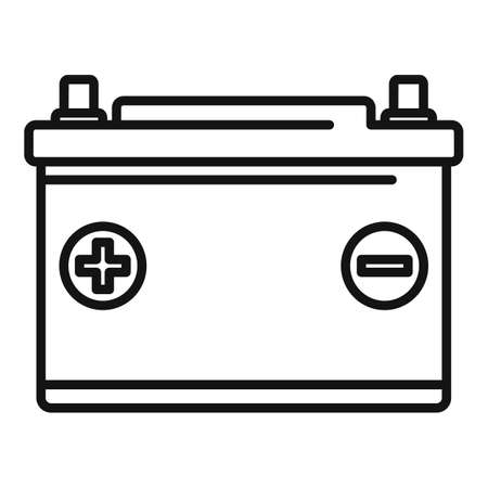 Car battery icon, outline style