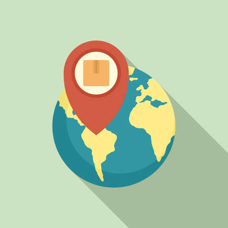 Global parcel tracking icon, flat style