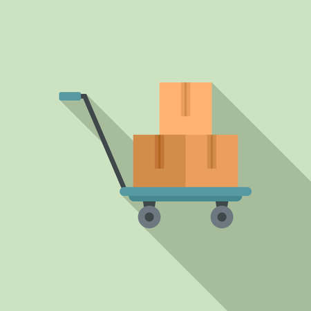 Parcel cart icon, flat style