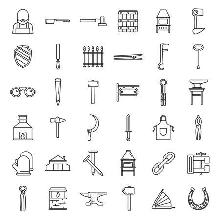 Blacksmith tools icons set, outline style