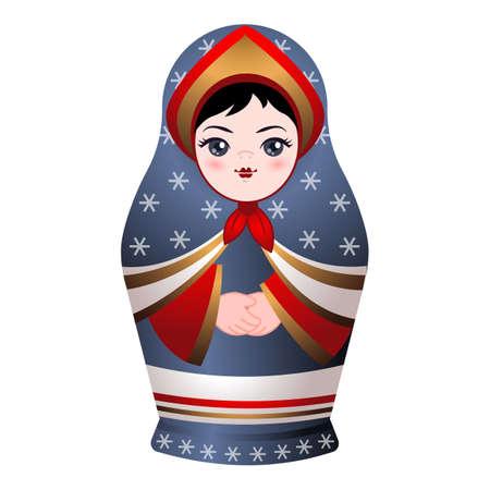 Nesting doll icon, cartoon style