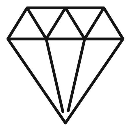 Shiny diamond icon, outline style Ilustração Vetorial
