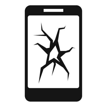 Cracked smartphone display icon, simple style