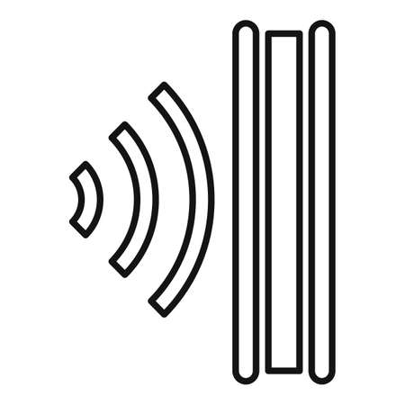 Sound absorbing icon, outline style