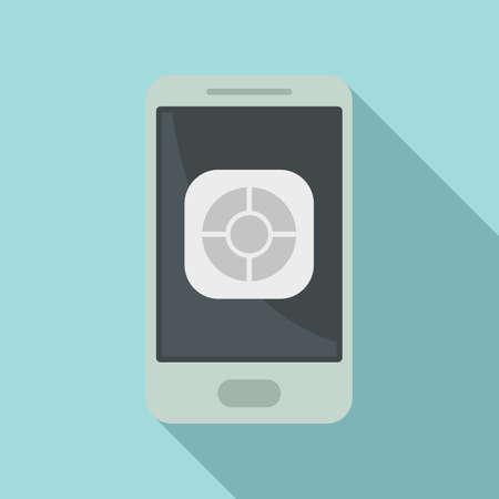 Smartphone remote control icon, flat style