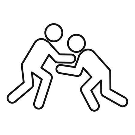 Greco-roman wrestling competition icon, outline style