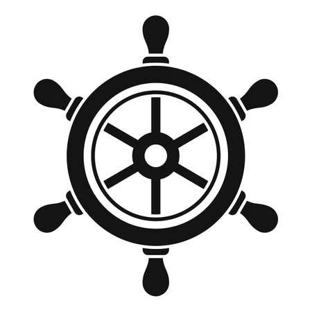 Navy ship wheel icon, simple style Vetores