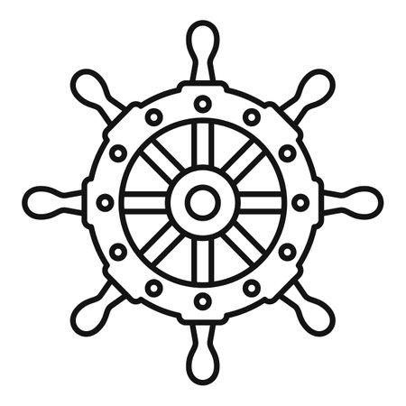 Captain ship wheel icon, outline style Vektorgrafik