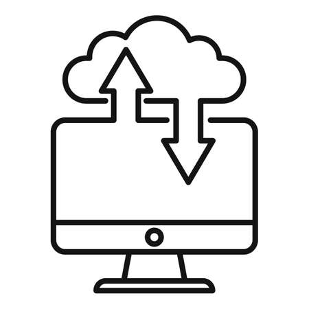 Remote pc data cloud icon, outline style