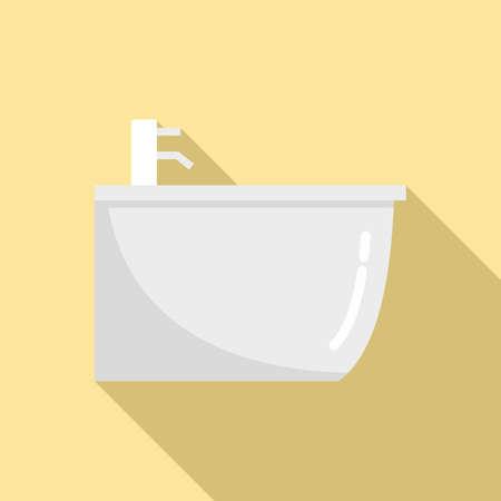 Ceramic bidet icon, flat style