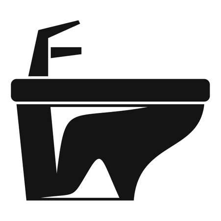 Clean bidet icon, simple style