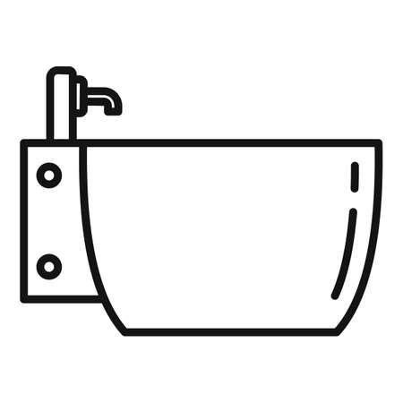 Ceramic bidet icon, outline style