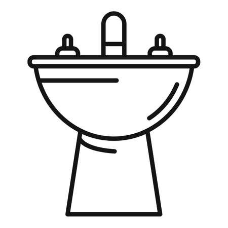 Bath bidet icon, outline style Ilustração