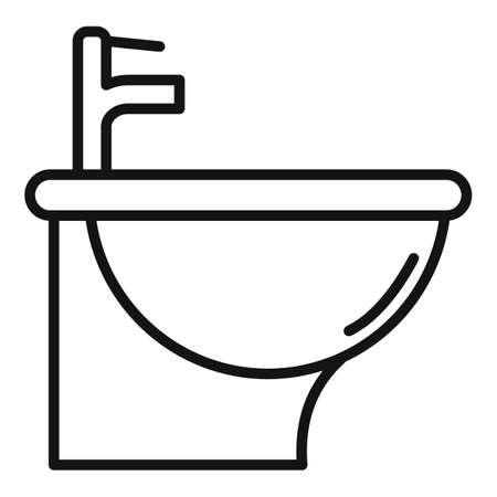 Hygiene bidet icon, outline style