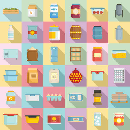 Food storage icons set, flat style