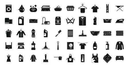 Dry cleaning icons set, simple style