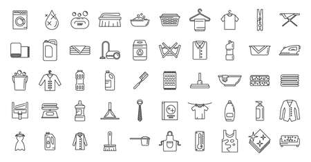 Dry cleaning service icons set, outline style