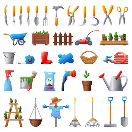 Gardening tools icons set, cartoon style Çizim